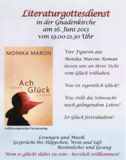 Einladungsplakat zum Literaturgottesdienst