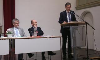 Im Luthersaal: Vizeprädident Weusman, Präses Rekowski und Superintendent Brödenfeld